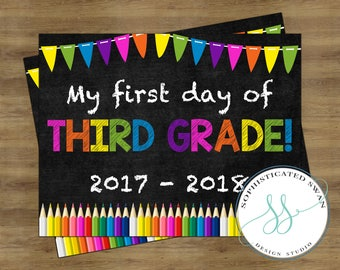 First Day of Third Grade Sign; First Day of School Sign; First Day of School Chalkboard Sign; First Day of School Printable