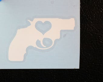 Revolver Heart Love Trigger Silhouette Decal Any Size Any Colors