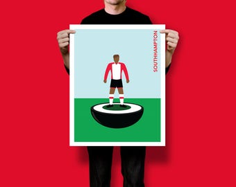 Retro Illustrated Subbuteo Style Table Football Player Poster Print [ SOUTHAMPTON ] A5 A4 A3 A2