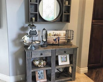 Rustic Sofa or console Table W/ drawers
