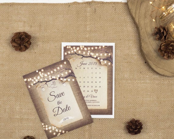 Rustic Lights Save The Date Card Sample