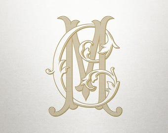 Vintage Wedding Monogram - CM MC - Wedding Monogram - Digital
