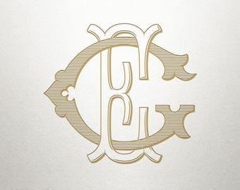 Custom Vintage Monogram - EG GE - Vintage Monogram - Digital