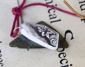 Handmade Found Salvaged Sea Glass Pottery Pendant & Leather Cord Necklace OOAK Refashion Upcycle Repurpose Rustic Quirky Eco Boho Statement