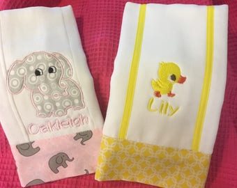 Embroidered Burp Cloths for Girls