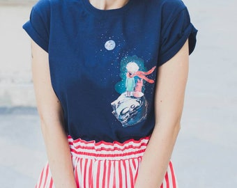 T-shirt with hand painted Little Prince and fox. Made like application and contains embroidery