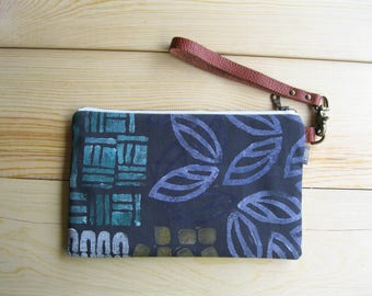 Block Print Fabric Clutch - Zipper Pouch, Brown Leather Detachable Strap. Bridesmaid Gift, Gift for Her.