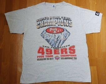 STARTER NFL San Francisco 49ers t-shirt, 1994 football jersey, vintage gray cotton shirt jacket, 90s hip-hop, 1990s size L Large Made in USA