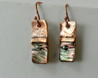 Fold formed hammered textured copper rectangle earrings with tiny aqua bead