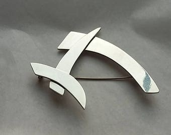 Vintage Sterling Silver Modernist Abstract Brooch Signed Mexican Silver