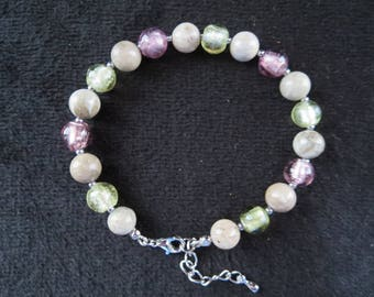 summer bracelet with fossil coral beads and silver foil Lampwork beads