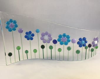 Floral Glass S Curved Plaque, Floral Candle Display, Fused Glass, Kiln Formed Glass, Home Decor, Gift for her, Birthday Gift, Wedding Gift
