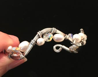 Sterling Silver Bangle Adorned w/ Pearls & Crystals ~ Wedding Ready!
