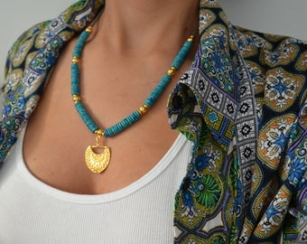 Gold African Ethiopian Tuareg Shield Necklace, African Tribal Jewelry, Ethnic Tribal Ceramic Beaded Necklace, Bohemian Amulet Necklace