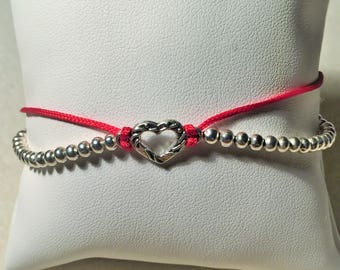 "Bracelet ""Red and silver heart"""
