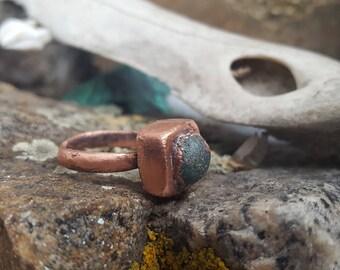 Square Azurite Copper Ring