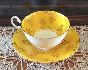 Royal Grafton cup & saucer Yellow with gold accents bone china ceramic
