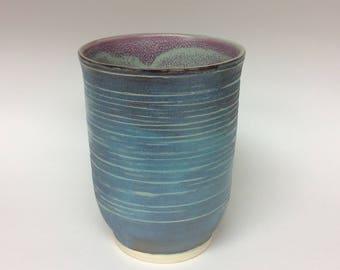 Ceramic vase, wheel thrown vase, wheel thrown pottery, pottery, ceramics, vase, purple vase, handmade vase