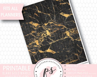 Gold Black Marble Pattern Blank Header Printable Planner Stickers | JPG/PDF/Silhouette Cut Files