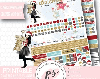 Jingle Bells Christmas December 2017 Monthly View Kit Printable Planner Stickers (for Classic Happy Planner) | JPG/PDF/Silhouette Cut File