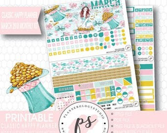 Kiss Me Irish St Patricks March 2018 Monthly View Kit Digital Printable Planner Stickers (Classic Happy Planner)|JPG/PDF/Silhouette Cut File