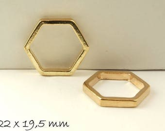 4 pcs connector honeycomb in golden 22 x 19.5 mm