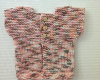 Pink Orange LayetteTaille 3 to 6 months baby sleeveless Cardigan