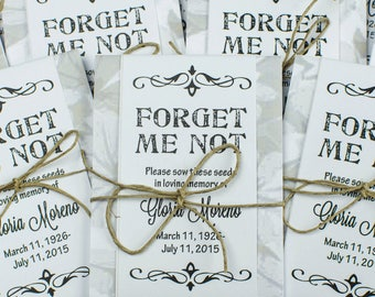 Personalized Gray & White Memorial Forget-Me-Not Seed Packets