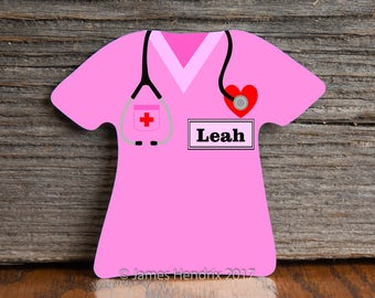 Personalized Custom Nurse or Doctor Aluminum 1 Sided T-Shirt Magnet