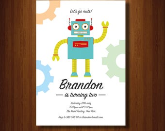 Robot Invitation | Robots | Robot Invite | Robot Birthday | Robot Birthday Party | Custom Printable | Let's Go Nuts | Self editable pdf
