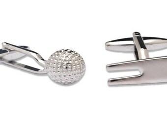 Cufflinks a Golf Ball and a Divot Tool