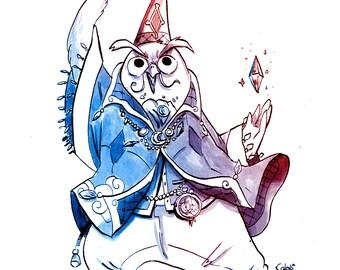 Watercolor, owl wizard, digital art print, fantasy art, RPG, animal illustration, magician print, geek wall art, gift for gamer, DnD