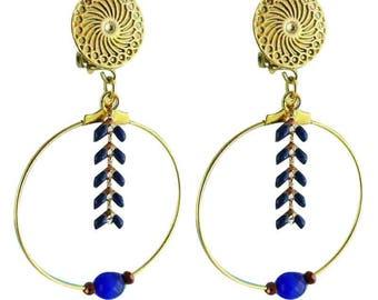 Earrings clips Athena blue