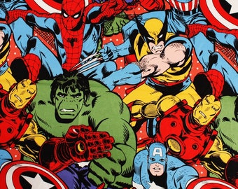Marvel Fabric Iron Man Hulk Spider Man Thor Captain America Fabric By the Half Yard