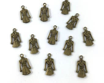 Set of 12 charms coat trench metal color bronze