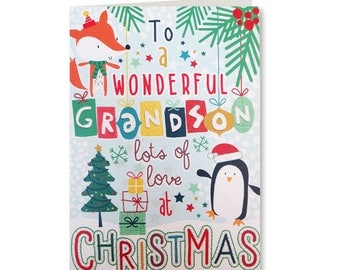 50% OFF - Merry Christmas - Happy Christmas - Seasons Greetings - Wonderful Grandson - LG22 - Lets Go Collection