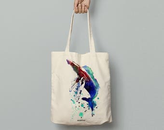 Whale art tote bag