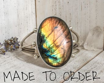 MADE TO ORDER Labradorite cuff - available in silver, brass or copper, adjustable, custom made, bohemian boho valentine's day gifts for her