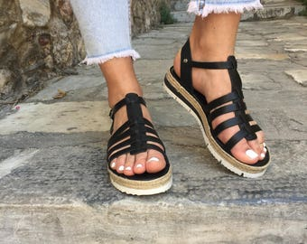 Women's Greek Sandals, Leather Sandals, Black Sandals, Gladiator Sandals, Leather Flat Sandals,  Women's Sandals, Made in Greece.