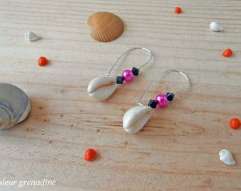 Earrings faceted beads and shell