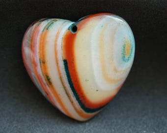 GEMSTONE fire agate heart PENDANT