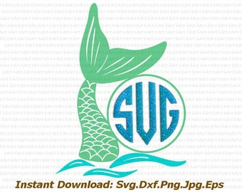 mermaid monogram svg, mermaid tail svg, mermaid svg, monogram svg, fish svg, fish tail svg, birthday girl svg, little girl monogram svg, dxf