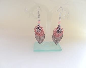 Dangle earrings salmon Brown/Drop filigree earrings filigree brown salmon brown filigree leaf