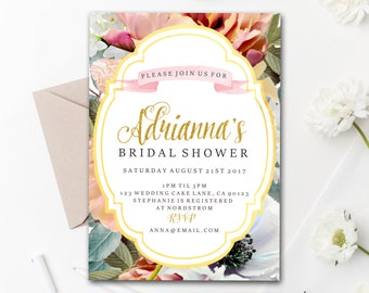 Printable Download // Customized Bridal Shower Invite // flowers // gold and floral // Digital Download // bachorlorette