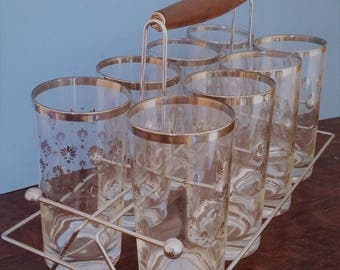 Vintage Silver Etched Glassware and Caddy
