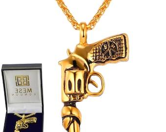 Hand Gun Necklace 18K Gold Plated Wild West Pistol Revolver Pendant - Elegant Gift Box