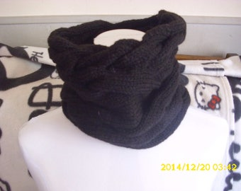 Adult black Snood large cables