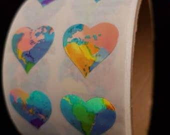 Plastic sticker roll with 50 breaks hearts