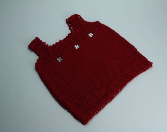 Shirt 3 year old daughter red crochet handmade
