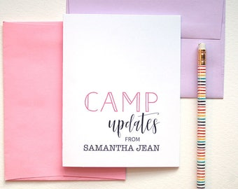 Kids Stationary Personalized Cards, Thank You Card, Sleep Away Camp Personalized Stationery Set of 10, Kids Summer Camp, Camp Stationary